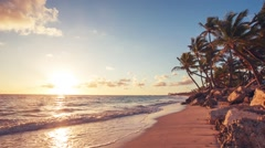 Sunrise over Exotic Beach in Dominican Republic, Punta Cana Stock Footage