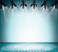 Illuminated empty concert stage Stock Illustration