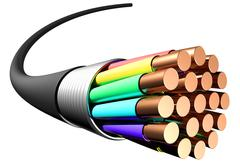 Electrical cable on white background. Close-up Stock Illustration