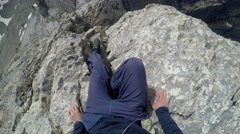 Rock climber moving down from the top of Mytikas summit on Olympos mountain i Stock Footage