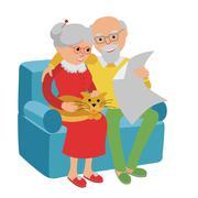 Happy senior man woman family sitting on the sofa and rest. Vector illustration Stock Illustration