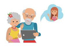 Family vector illustration flat style people online social media communications Stock Illustration