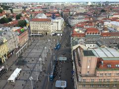 View from above of Ban Jelacic square in Zagreb, Croatia - stock photo
