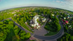 Aerial landscape of rural scene in central Russia on summer - stock footage