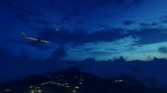 Passenger airliner in night cloudy sky 4K - stock footage