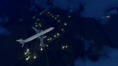Passenger airplane in night sky above suburbs 4K - stock footage