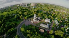 Aerial landscape of rural scene in central Russia on summer Stock Footage
