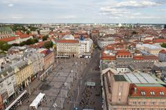 View from above of Ban Jelacic Square in Zagreb, Croatia Stock Photos