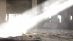 Abandoned warehouse. Dust and ray of light. Stock Footage