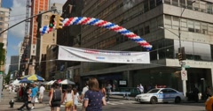 People Visit the Bastille Day Street Fair in New York City Stock Footage