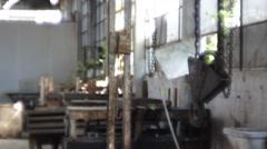 Winch hook grapple chain in a forsaken factory Stock Footage