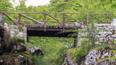 Picos de Europa Wooden Bridge & Stream 4K Stock Footage