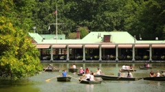 Boats Being Rowed In Central Park Stock Footage
