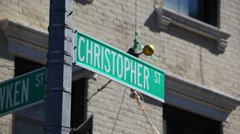 Christopher Street Sign In New York City Stock Footage