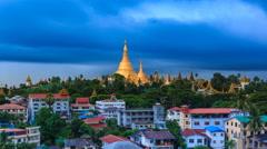 The Storm Formation Above Shwedagon Golden Pagoda Of Yangon, Myanmar Stock Footage