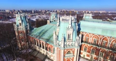 Aerial view of amazing tower of the Grand palace in Tsaritsyno. Stock Footage