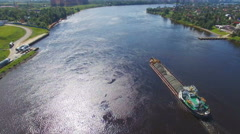 Aerial view of cargo barges with crushed stone Stock Footage