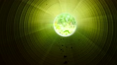 Movement inside of long plastic tube under ground. Green blue light, Stock Footage