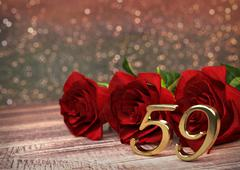 Birthday concept with red roses on wooden desk. fifty-nineth. 59th. 3D render Stock Illustration