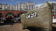 Boat on the Brighton Beach in England Stock Footage