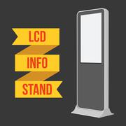 Trade show booth LCD TV Info stand. Stock Illustration
