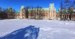 View of the Grand palace in Tsaritsyno. Winter. Aerial. Stock Footage