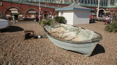 Fishers boat on a Brighton Beach Stock Footage