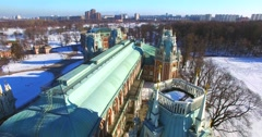 Flying backwards above the roofs and towers of the Grand palace in Tsaritsyno. - stock footage