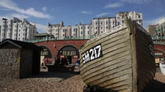 Brighton Beach - gentle pan on a boat Stock Footage