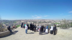 Tourists on the Mount Scopus in Jerusalem. Stock Footage