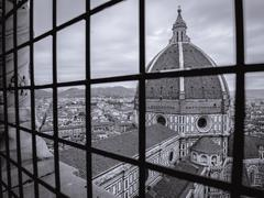 Florence cathedral behind bars monochrome - stock photo
