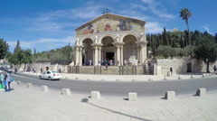 The facade of the All Nations Church in Jerusalem. Stock Footage