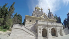 The facade of the Russian Orthodox Church of Mary Magdalene, Jerusalem Stock Footage