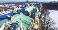 Flying above the edifice of the Grand palace in Tsaritsyno. Aerial. Winter. Stock Footage