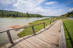 Wooden bridge acrossing flood area of big pool Stock Photos