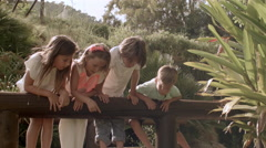 Four children hanging over railings on bridge in park Stock Footage