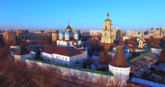 Aerial view of the Novospassky Monastery. - stock footage