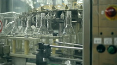 Many bottles of vodka or gin on conveyor belt in factory. Bottling plant Stock Footage