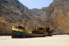 Old rusty boat at the white sands of Navagio Shipwreck  beach on Zakynthos. G Stock Photos