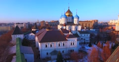 Novospassky monastery, view of the Cathedral of the Transfiguration (1649). - stock footage