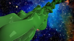 Green alien in space - stock footage
