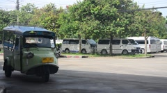 Motor tricycle or tuk tuk thai style at Bus terminal Stock Footage