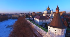 Novospassky Monastery (14th century). Moscow. Winter evening. Stock Footage