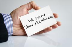 We want your feedback text concept Stock Photos