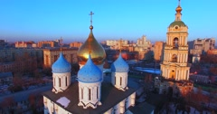 Novospassky Monastery (14th century). Moscow. Winter evening. - stock footage