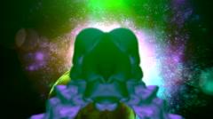 Green alien in space Stock Footage