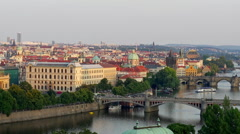 Bridges of Prague including the famous Charles Bridge over the river Vitava Stock Footage