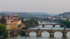 Beautiful evening view of Prague's bridges above Vltava river, panoramic - stock footage