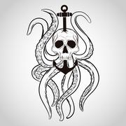 T-shirt design. Skull with octopus and anchor in a tattoo style. Stock Illustration