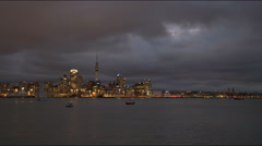 Auckland from devonport at night Stock Footage